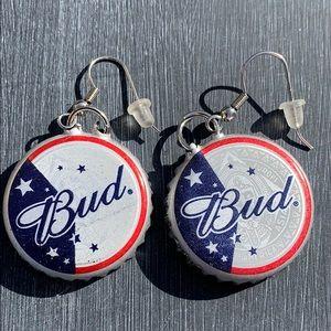Pair of Budweiser beer cap earrings
